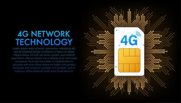 Сим-карта 4g. символ технологии мобильной связи. векторная иллюстрация.