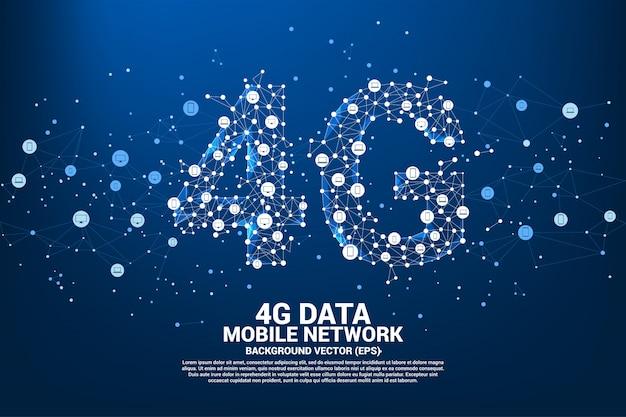 Вектор многоугольника точка подключения линии 4g мобильной сети