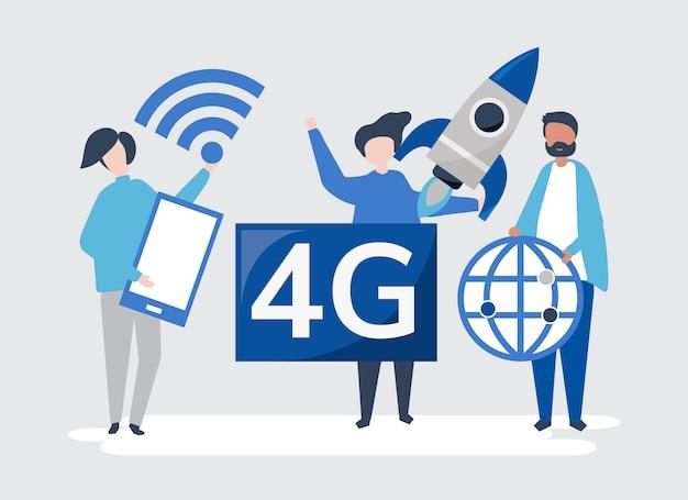 Иллюстрация символов людей со значком 4g