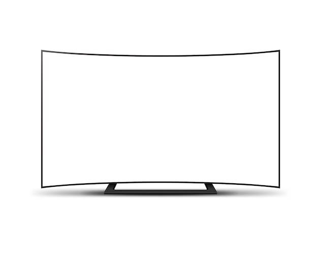 4k tv curved screen lcd or oled, plasma, realistic illustration