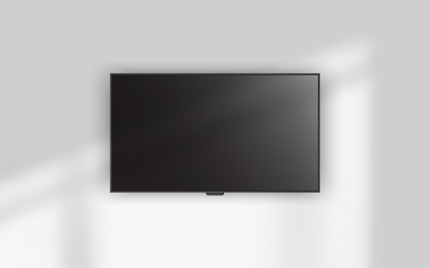 4к телевизор висит на стене.