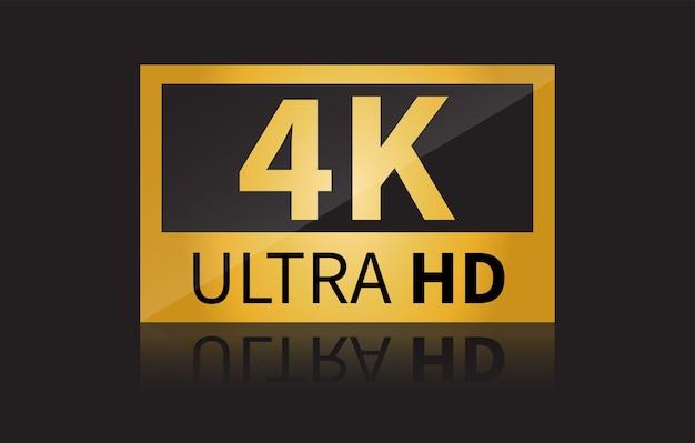 Знак 4k ultra hd, изолированные на черном фоне.