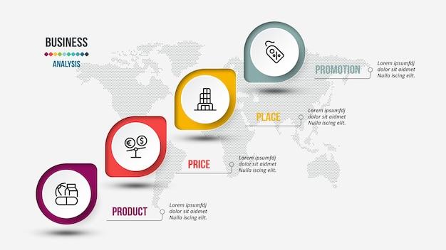 4p 분석 비즈니스 또는 마케팅 인포 그래픽 템플릿