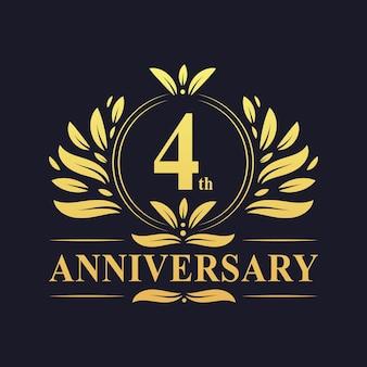 4th anniversary design, luxurious golden color 4 years anniversary logo design celebration.