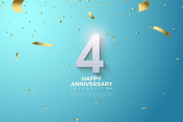 밝은 파란색 배경에 3dimesi 번호 일러스트와 함께 4 주년.