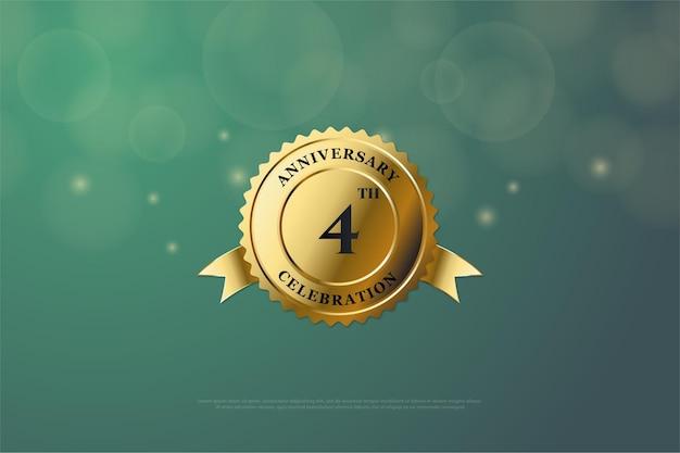 4-я годовщина со сверкающим номером золотой медали посередине.