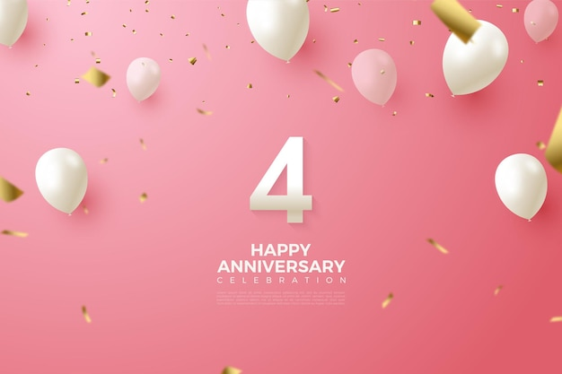 4th anniversary with illustration of white balloons flying.