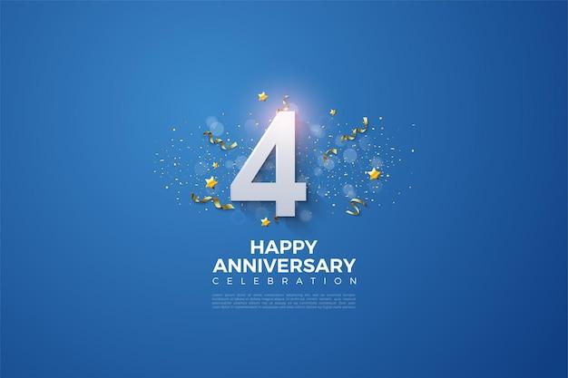 진한 파란색 배경에 숫자 그림 및 파티 축제와 4 주년.