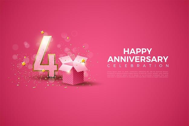 분홍색 배경과 숫자 옆에 선물 상자가있는 4 주년.