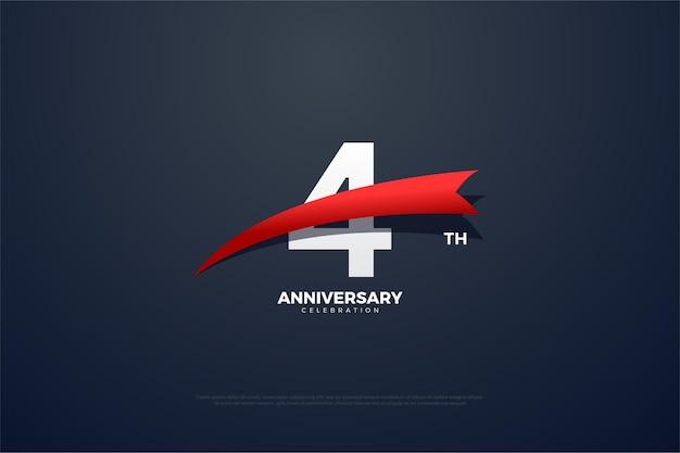 4-я годовщина с красным номером и острой цифрой перед номером.
