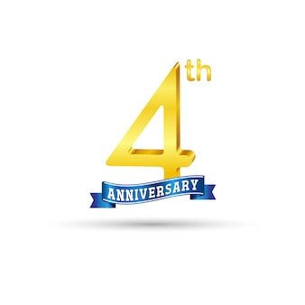 4th golden anniversary logo with blue ribbon isolated on white background. 3d gold 4th anniversary logo