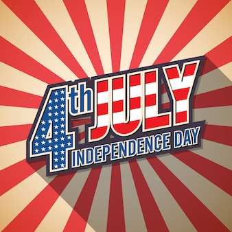 4th july  american independence day card retro