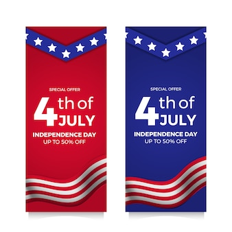4th july american independence day flyer sale offer banner with flag and star