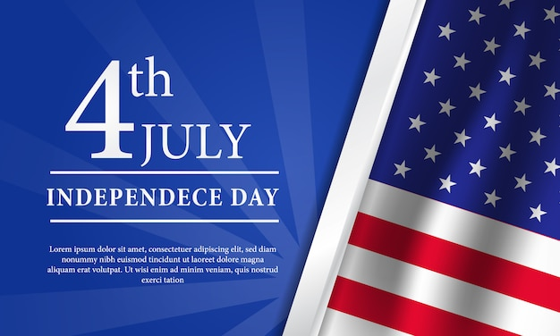 4th july american independence day flyer template with flag