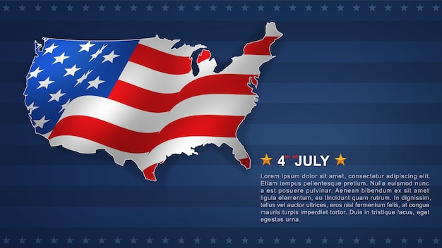 4th of july background for usa(united states of america) independence day with usa map.