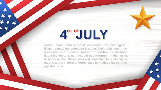 4th of july - background for usa(united states of america) independence day with white wood pattern and texture and american flag. vector illustration.