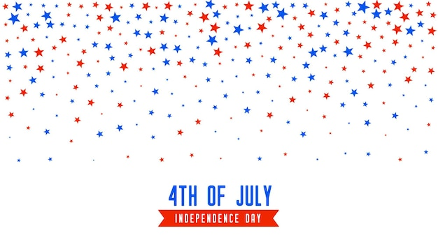4th of july background with falling stars confetti