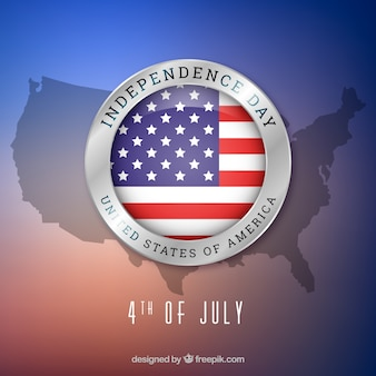 4th of july background with map