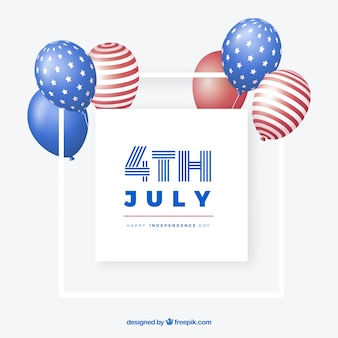 4th of july balloons bunch in flat style
