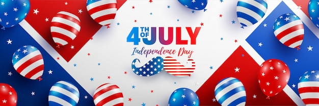 4th of july banner template. usa independence day celebration with american balloons flag.