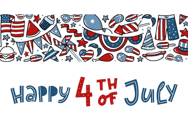 4th of july banner with quote and doodles