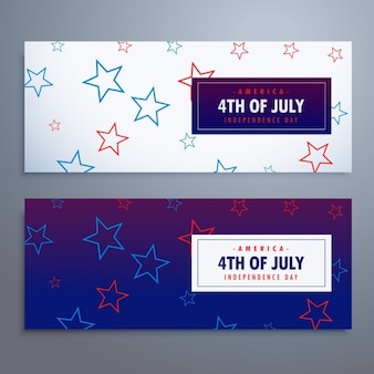 4th of july banners set in white and blue stars