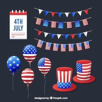 4th of july elements collection in flat style