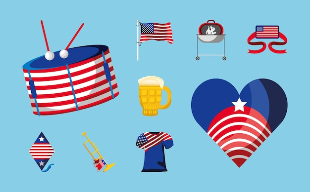 4th july flag heart shirt drum