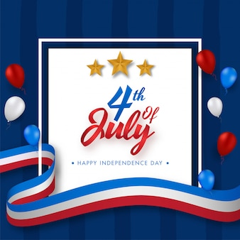 4th of july font with golden stars, glossy balloons and american flag wavy ribbon
