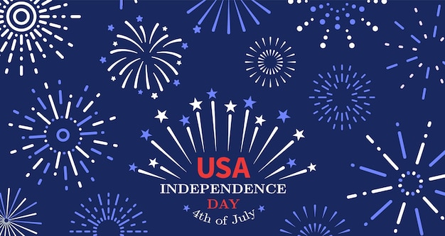 4th of july. freedom fireworks, usa independence day poster. american liberty, united states national festive invitation