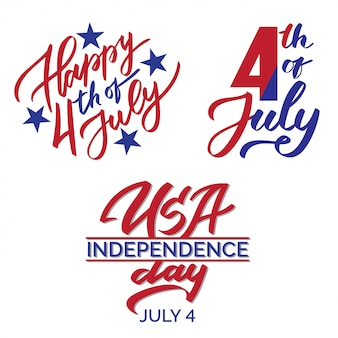 4th of july graphic print set, typography, lettering, calligraphy, usa independence day text