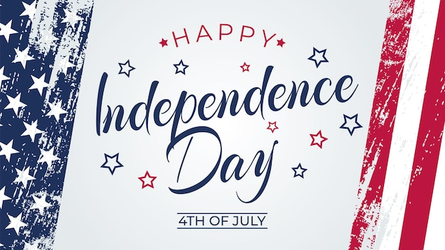 4th of july greeting card with brush stroke background in united states national flag colors