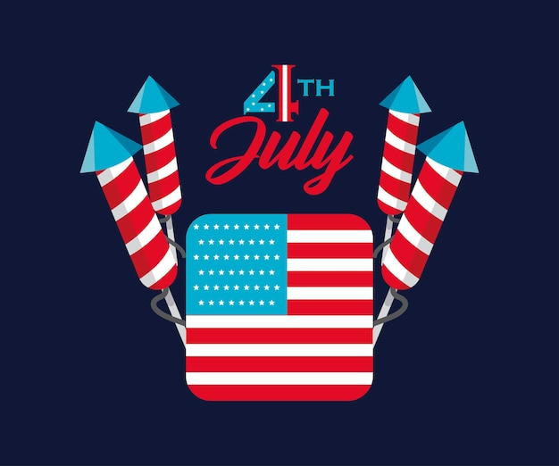 4th of july greeting card with fireworks