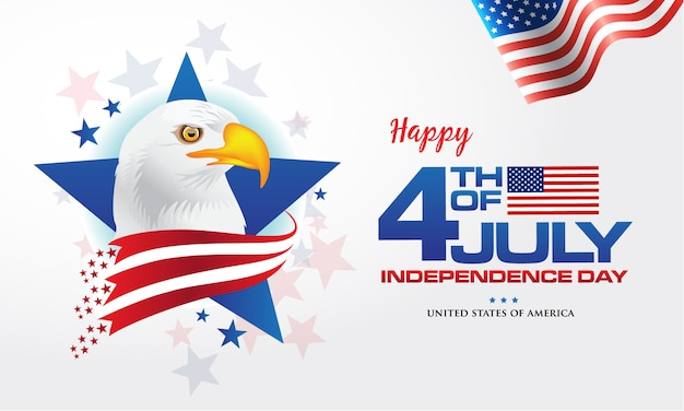 4th of july. happy independence day of america background with waving flag and bald eagle, symbol of america