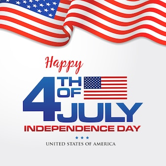 4th of july. happy independence day of america background with waving flag