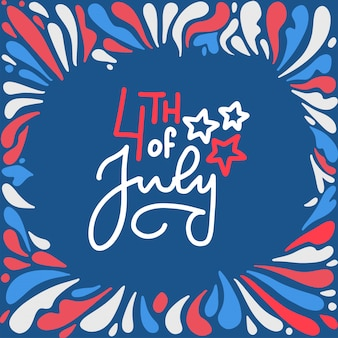 4th of july happy independence day lettering. patriotic american fireworks shape frame on white red blue color.