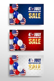 4th of july happy independence day usa  design set