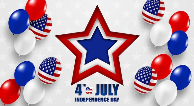 4th of july happy independence day usa. design with hite, blue and red balloons and american flag star