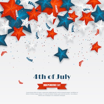 4th of july - independence day of america. american holiday background. 3d stars in national colors with serpentine and confetti