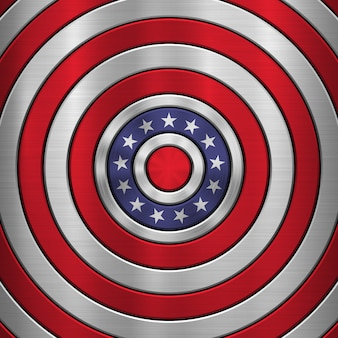 4th of july independence day background with metal circular polished, concentric texture, chrome, silver, steel
