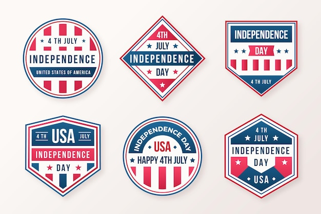 4th of july - independence day badges in flat design