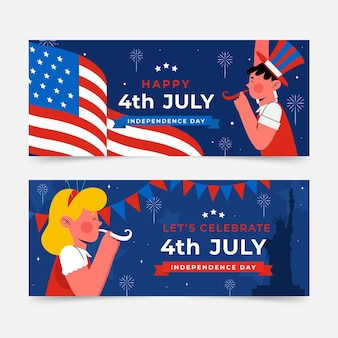 4th of july - independence day banners set