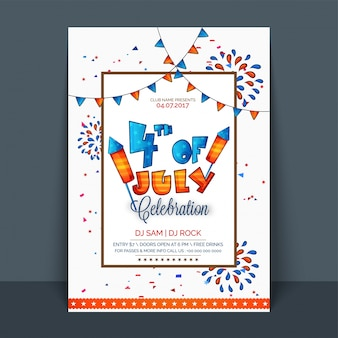 4th of july, independence day celebration flyer, template, banner or invitation card with american flag color buntings and fireworks decoration.