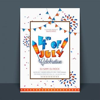 4 luglio, flyer, modello, bandiera o invito per la celebrazione del giorno dell'indipendenza con bustine di colore della bandiera americana e decorazione dei fuochi d'artificio.