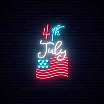 4th of july, independence day celebration usa neon sign.