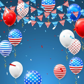 4th july independence day celebration with confetti and balloons of america flag.