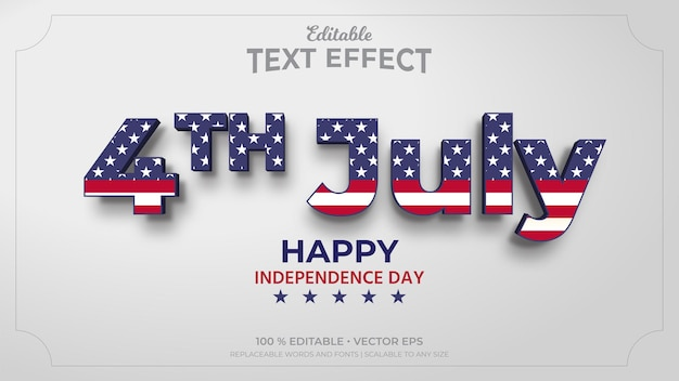 4th of july independence day editable text effects
