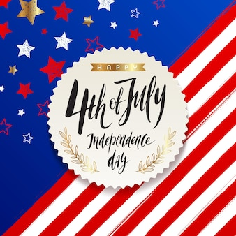 4th of july independence day greeting card design