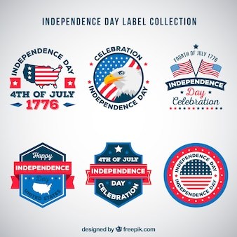 4th of july independence day labels collection