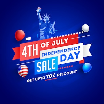 4th of july, independence day sale poster or template design wit